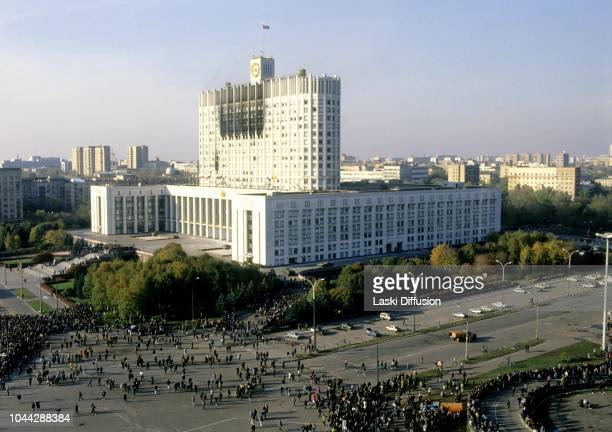 Moscow, Russia - 04 October 1993 Constitutional crisis in Russia, the last day of putsch; by sunrise the Russian army encircled the parliament...