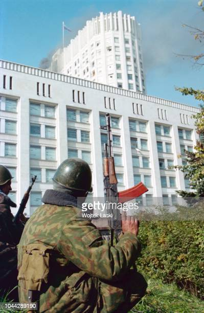 Moscow Russia 04 October 1993 Constitutional crisis in Russia the last day of putsch by sunrise the Russian army encircled the parliament building...