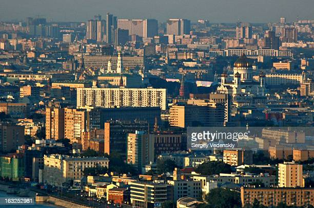 Moscow, Russia. Aerial view towards Kremlin, City Centre and North-East of the city