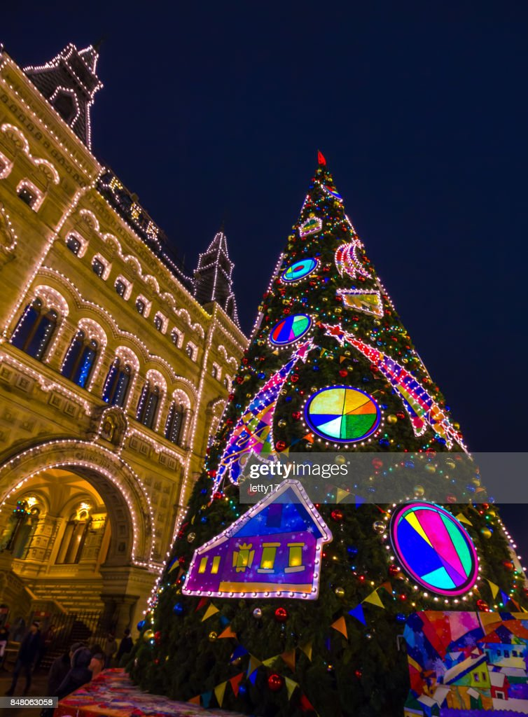 moscow russia christmas tree on red square stock photo - Russia Christmas