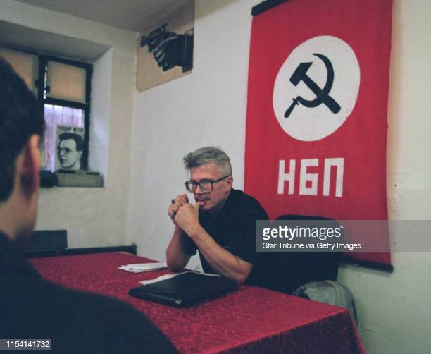 Moscow Russia July 20 1999 National Bolshevik Party headquarters visit Edouard Limonov leader of the National Bolshevik Party met with a member in...