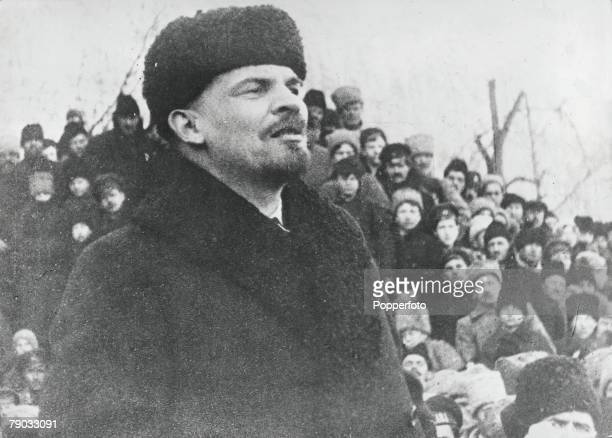 Moscow Russia Lenin leader of the Russian revolution addressing a crowd of people at a rally in Moscow