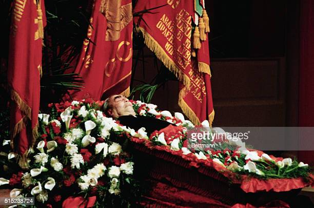 Moscow, Russia: Leonid Brezhnev, former leader of the Soviet Union, lies in state November 12, in the Hall of Columns of the House of the Unions.