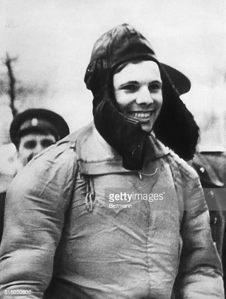 4/18/1961 Moscow Russia Spaceman Yuri Gagarin smiles broadly from the confines of his furlined hat after successfully returning from his epochmaking...