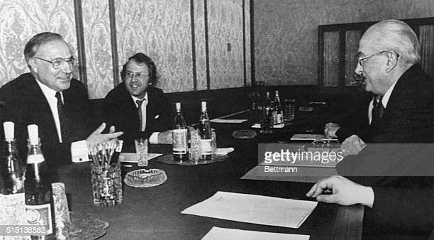 West German chancellor Helmut Kohl holds Kremlin talks with Soviet leader Yuri Andropov on arms control A translator is in the background