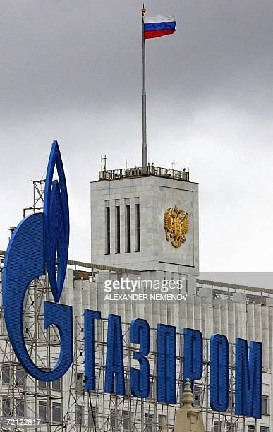 Moscow, RUSSIAN FEDERATION: -- A file picture taken 01 July 2006 shows the logo of Russia's state-controlled gas giant Gazprom in front of Russia's...