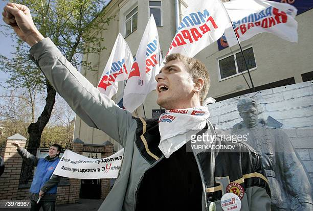 An activist of 'Young Guards of United Russia' movement shouts slogans during a rally in front of the Estonian embassy in Moscow 26 April 2007...