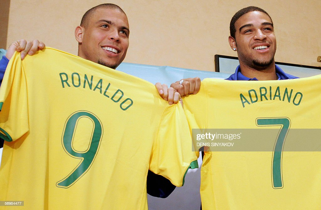 ff8ffe04f9a Brazilian football players Ronaldo and Adriano shows theit tee ...