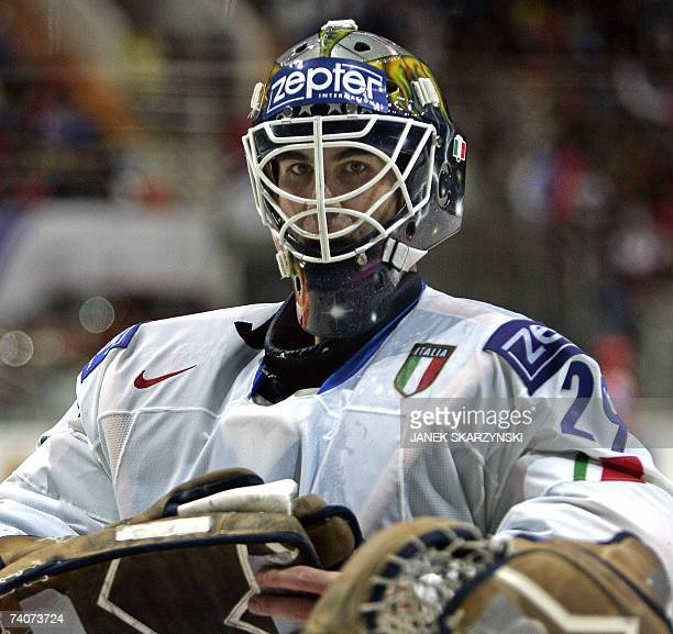 Italian goalkeeper Jason Muzzatti competes during a qualifying round group E game of the IIHF International Ice Hockey World Championship in Moscow...