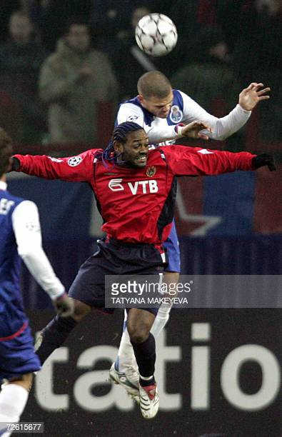 Pepe of Portuguese Porto vies with Vagner Love of Russian CSKA Moscow during their UEFA Champions League group G football match in Moscow 21 November...