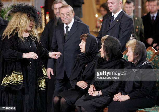 Russian singer Alla Pugacheva speakes to Naina widow of former Russian president Boris Yeltsin daughter Tatyana and an unidentified relative attend a...