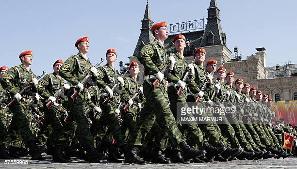 Russian soldiers parade in Red Square in Moscow 09 May 2006 during celebrations of the end of World War II Putin used the pomp and circumstance of...