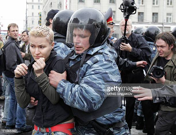 Russian special police forces arrest a homosexual activist during their unapproved protest in front of the Moscow City Hall 27 May 2006 Russian...