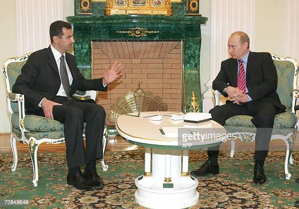 Russia's President Vladimir Putin and Syrian President Bashar alAssad talk as they meet in Moscow's Kremlin 19 December 2006 AFP PHOTO/ POOL/ SERGEI...