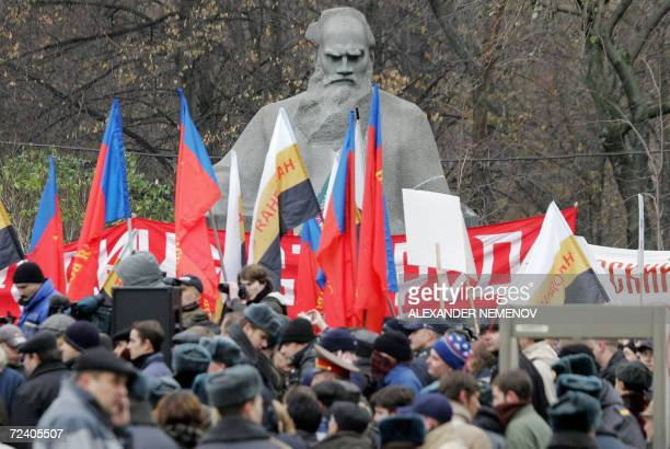 Supporters of Russian national revival party People volition gather near a monument to Russian famous writer Lev Tolstoy as they mark National Unity...