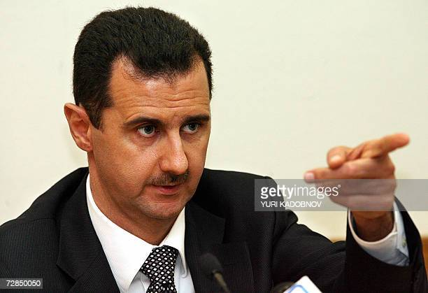 Syrian President Bashar alAssad speaks during a press conference in Moscow 19 December 2006 Russian President Vladimir Putin and his Syrian...