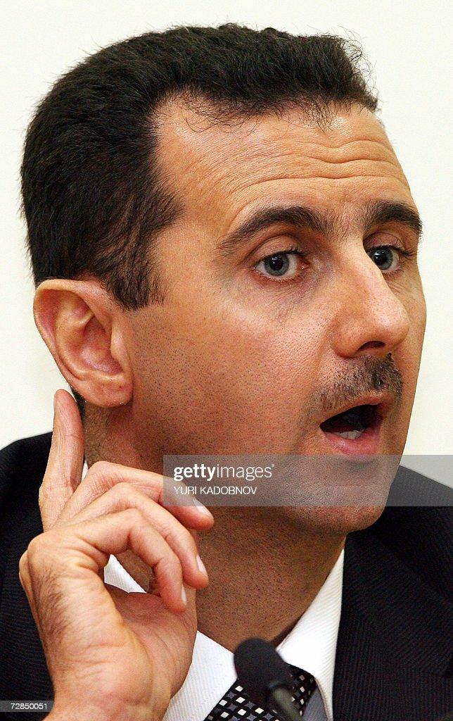 Syrian President Bashar al-Assad speaks : News Photo