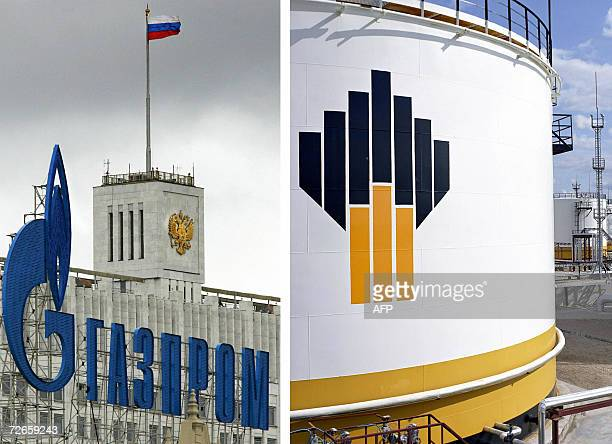 This combo picture made 28 November 2006 shows the logo of Gazprom in front of the building of Russia's Government in Moscow and the logo of Rosneft...