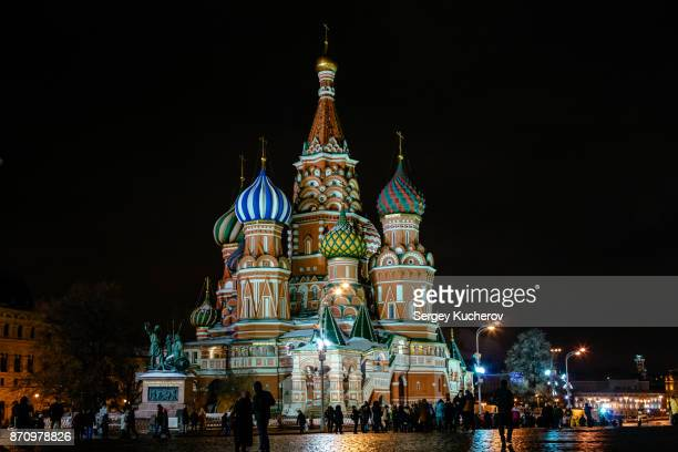 moscow saint basil's cathedral at night - kremlin stock pictures, royalty-free photos & images
