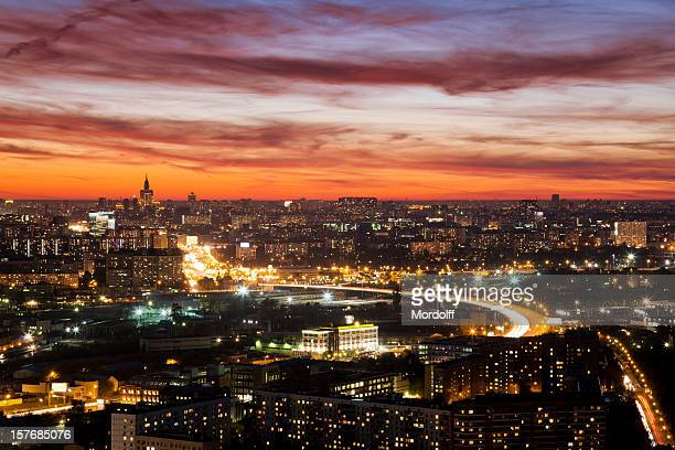 Moscow skyline at night. Aerial view