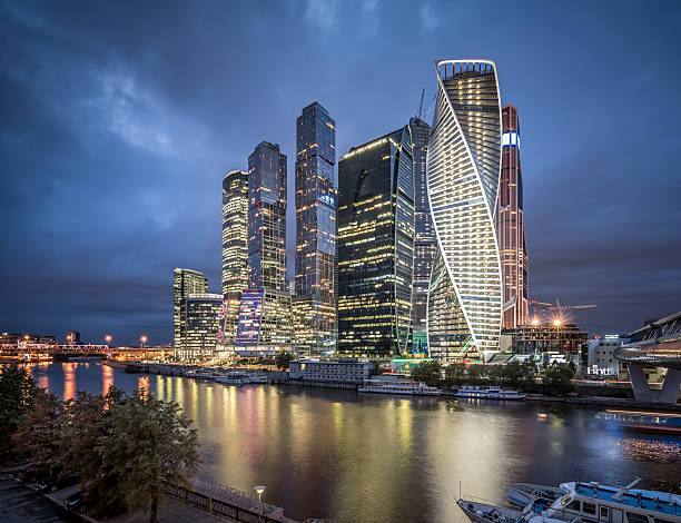 Moscow Skyline At Night Wall Art