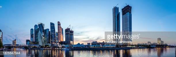 moscow skyscrapers panorama in the evening. - capitais internacionais imagens e fotografias de stock