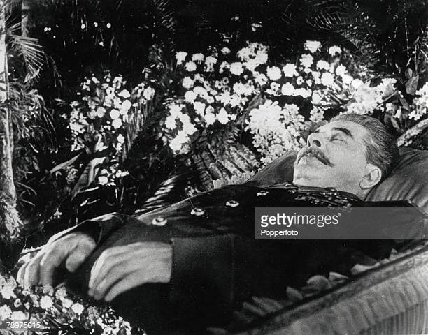 Moscow, Soviet Union, 10th March 1953, The body of Soviet communist leader Joseph Stalin lying in state after his death