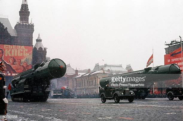 Moscow Soviet Union November 1971 Tanks and trucks carrying missiles on display during the annual November parade in Red Square