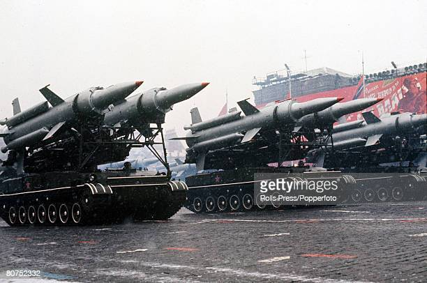 Moscow, Soviet Union, November 1971, Tanks carrying missiles on display during the annual November parade in Red Square