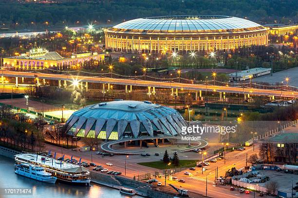 Moscow sports arena at night