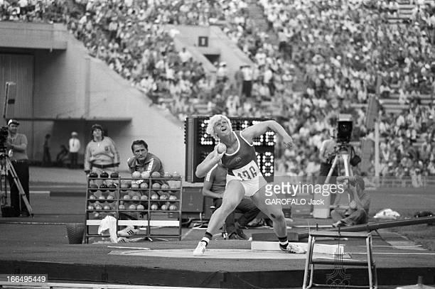 Moscow Summer Olympic Games 1980 Union Soviétique juillet 1980 les Jeux Olympiques d'été de Moscou Athlétisme lancer du poids l'allemande de l'est...