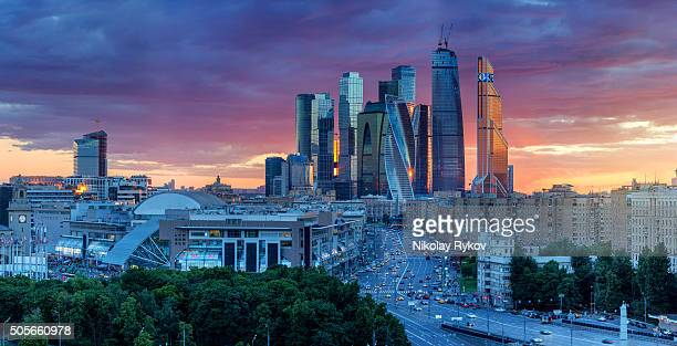 moscow sunset colors - moscow russia stock pictures, royalty-free photos & images