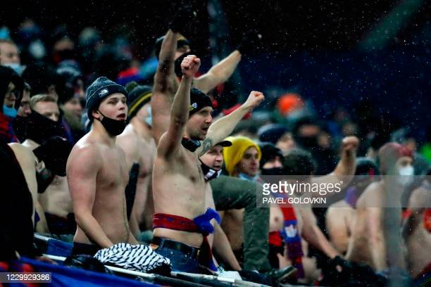 Moscow supporters during the UEFA Europa League football match between CSKA Moscow and Wolfsberg at Moscow's CSKA Arena on December 3, 2020.