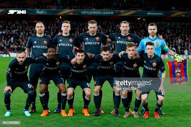 Moscow team back row CSKA Moscow's Russian defender Sergei Ignashevich CSKA Moscow's Swedish midfielder Pontus Wernbloom CSKA Moscow's Russian...