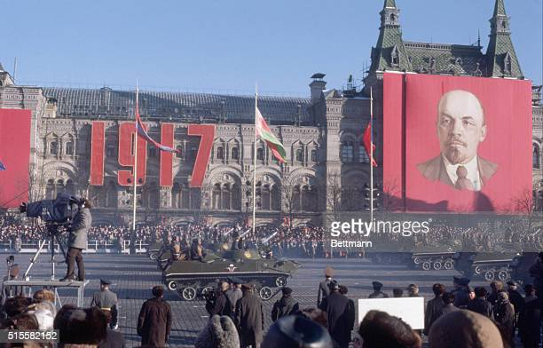 Moscow, USSR: Military parade in Red Square marking the 61st anniversary of the October Revolution.