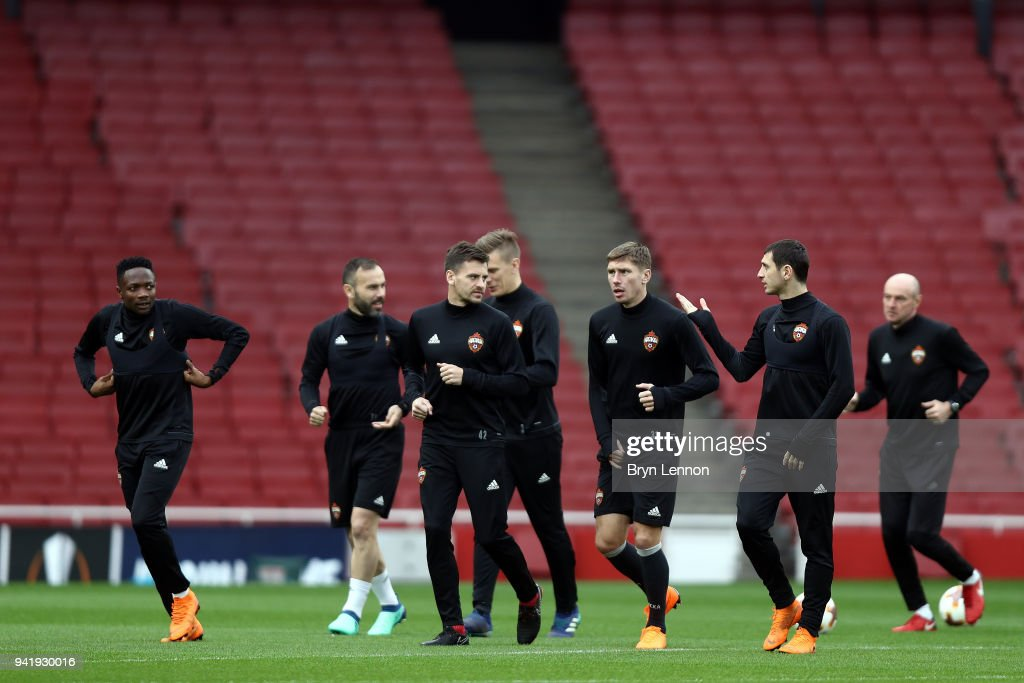 Moscow warm up for a training session ahead of their Europa League 1/4 final 1st leg match against Arsenal at the Emirates Stadium on April 4, 2018 in London, England.