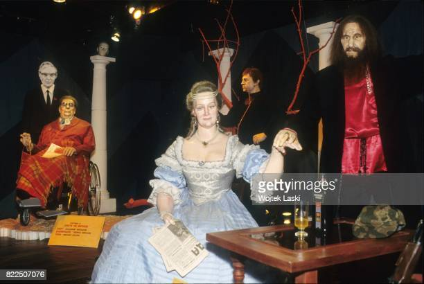 Moscow wax figures museum Pictured Empress Alexandra Feodorovna Romanova and Russian mystic Grigori Rasputin Moscow Russia 1991