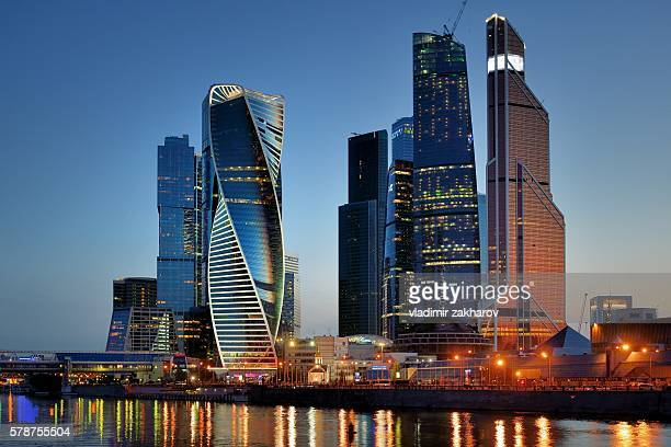 moscow-city at dusk - moscow international business center stock photos and pictures