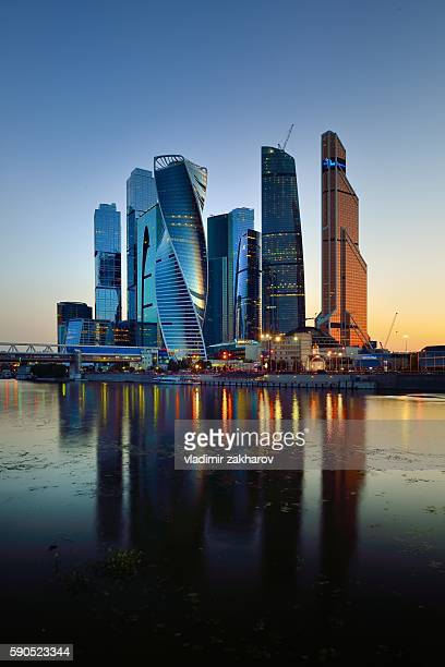 moscow-city at sunset - moscow international business center stock photos and pictures