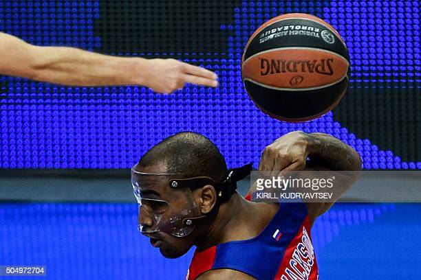 Moscow's Aaron Jackson gestures during Euroleague Top 16 group F basketball match between CSKA Moscow and FC Barcelona Lassa in Moscow on January 14...