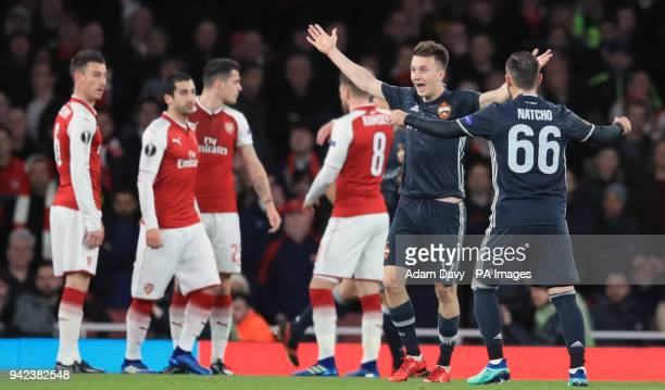 Moscow's Alexandr Golovin celebrates scoring his side's first goal of the game during the UEFA Europa League quarter final first leg match at the...