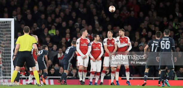 Moscow's Alexandr Golovin scores his side's first goal of the game during the UEFA Europa League quarter final first leg match at the Emirates...