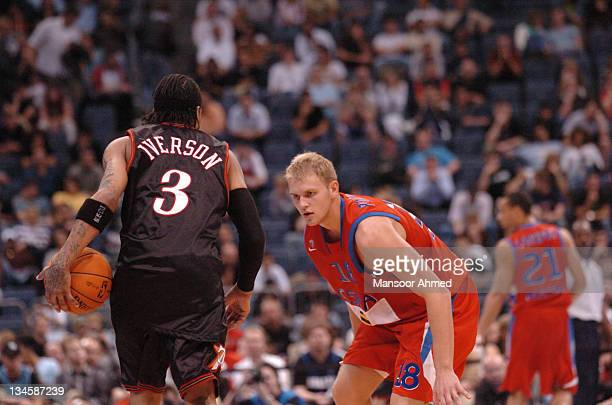 Moscow's Anton Ponkrashov closely guards Philadelphia 76ers Allen Iverson during the NBA Europe Live Tour presented by EA Sports on October 11 2006...