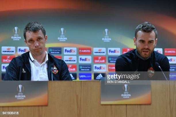 Moscow's Belarusian manager Viktor Goncharenko and CSKA Moscow's Russian captain Igor Akinfeev attend a press conference on the eve of their UEFA...