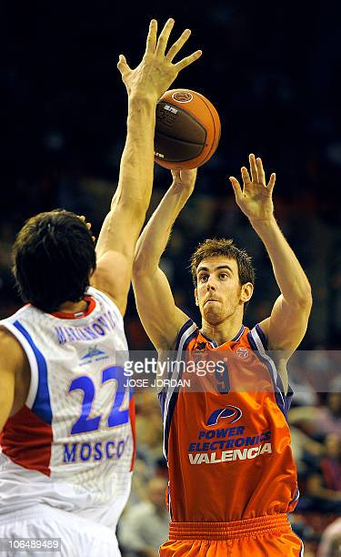 Moscow's Boban Marjanovic vies with Power Electronics' Victor Claver during their Euroleague basketball match on November 3, 2010 at Fuente de San...