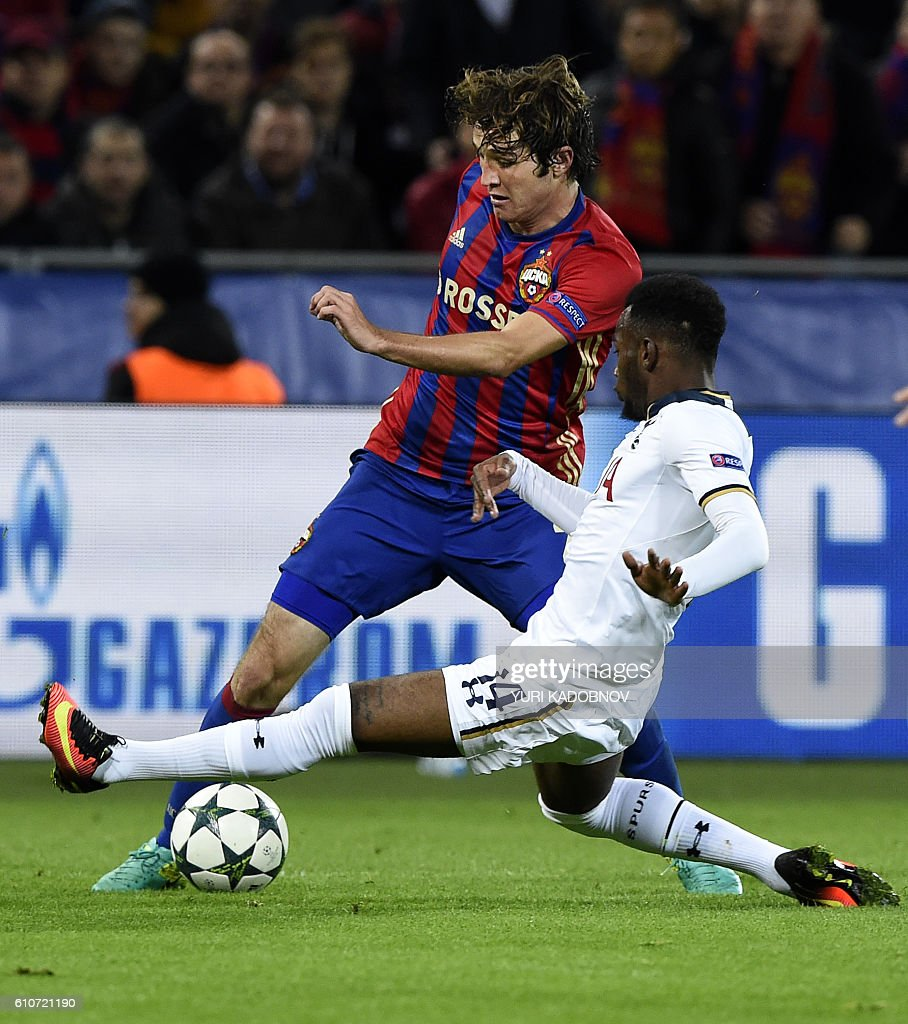 Moscow's Brazilian defender Mario Fernandes (L) vies with Tottenham Hotspur's French midfielder Georges-Kevin N'Koudou during their Champions League football match between CSKA Moscow and Tottenham Hotspur at the CSKA arena in Moscow on September 27, 2016. / AFP / YURI