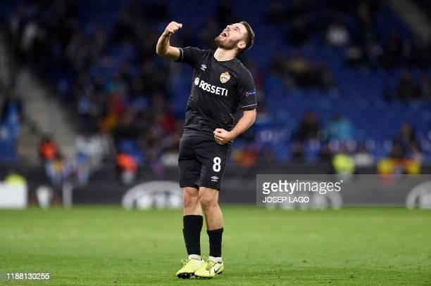 Moscow's Croatian midfielder Nikola Vlasic celebrates his goal during the UEFA Europa League Group H football match between Espanyol and CSKA Moscow...