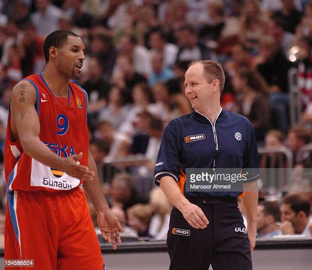 Moscow's David Vanterpool shares his thoughts with the official during the NBA Europe Live Tour presented by EA Sports on October 10 2006 at the...
