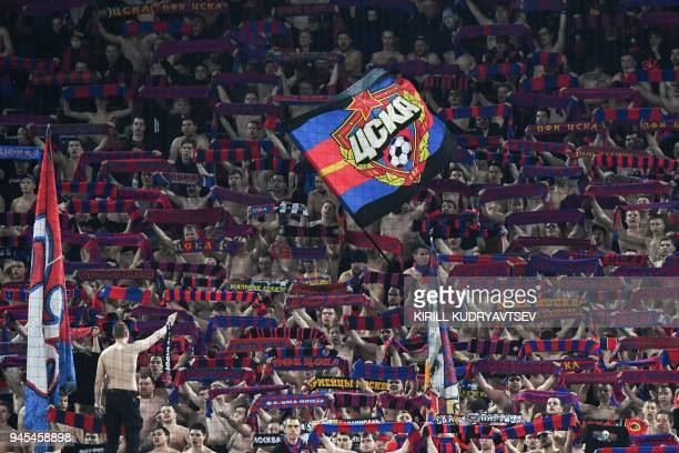 Moscow's fans reacts during the UEFA Europa League second leg quarter-final football match between CSKA Moscow and Arsenal at the VEB Arena stadium...