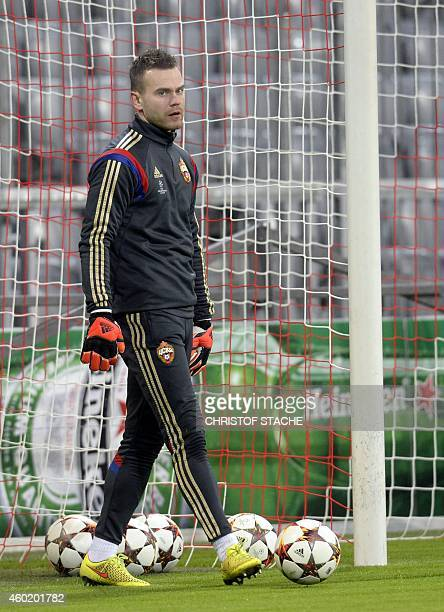 Moscow's goalkeeper Igor Akinfeev attends a training on the eve of the UEFA Champions League Group E secondleg football match FC Bayern Munich vs...